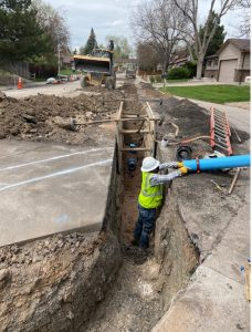 Water main replacement on S. Flower Way